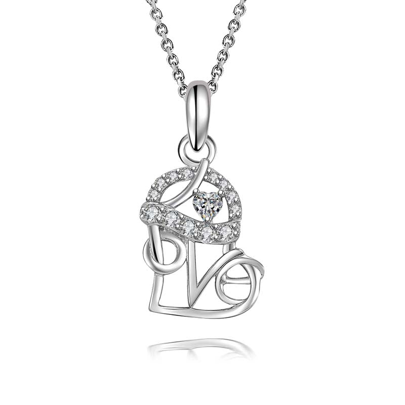 Heart-Shaped Love Created White Diamond Pendant Necklace