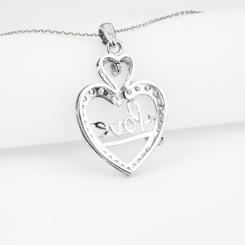 """Love"" Heart-shaped Created White Diamond Pendant Necklace"