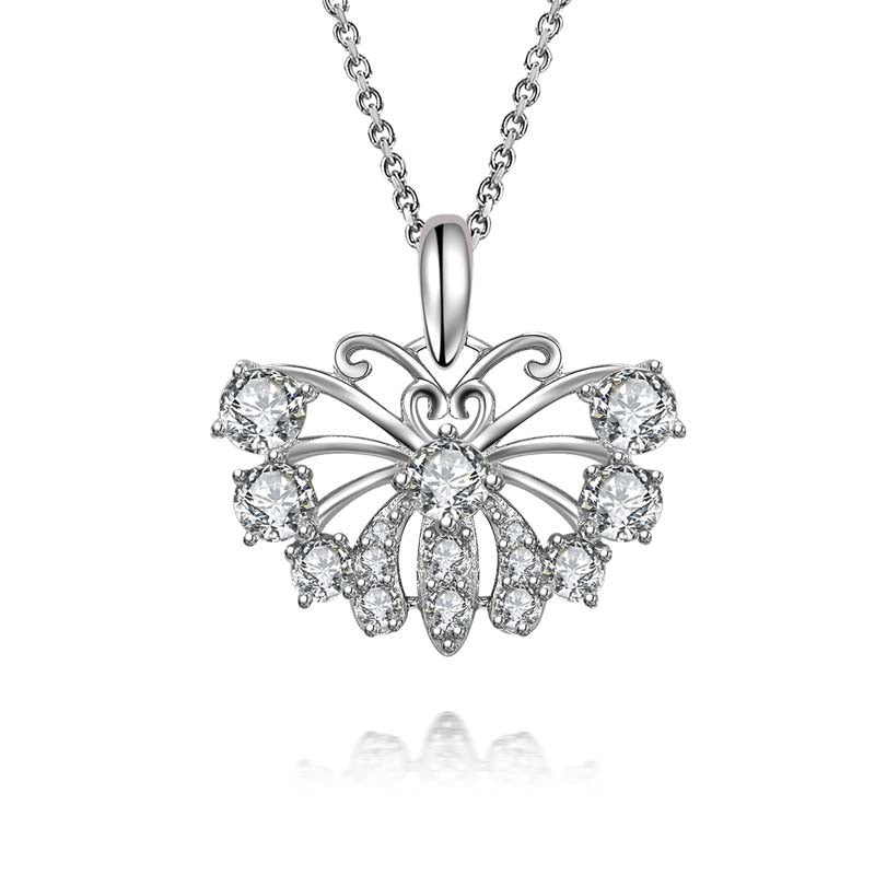 Butterfly Created White Diamond Heart-shaped love Pendant Necklace