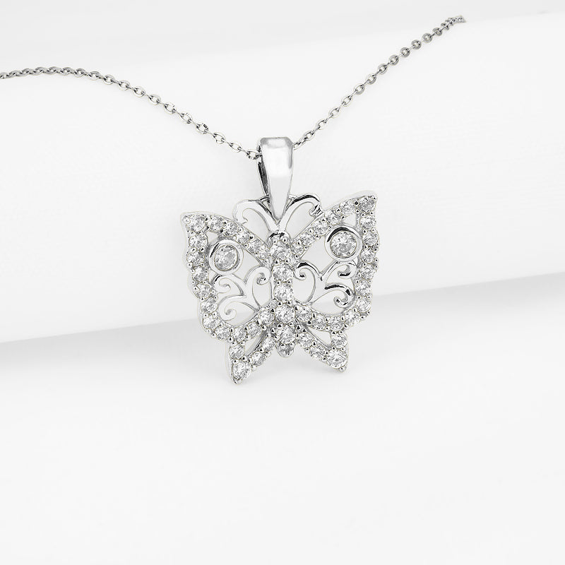 Butterfly Created White Diamond Pendant Necklace