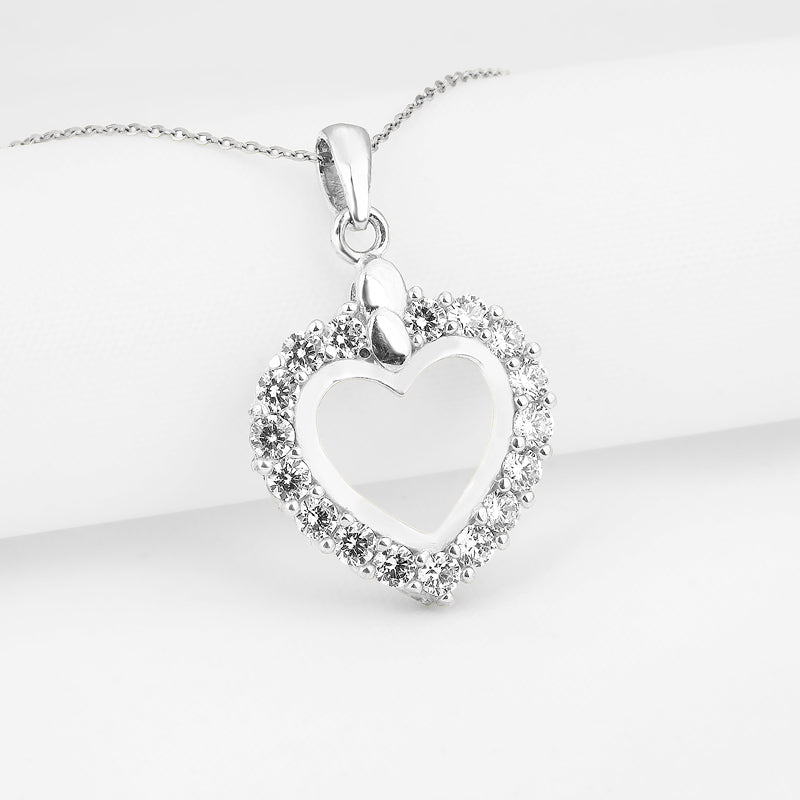 Butterfly Created White Diamond Heart shaped Pendant Necklace
