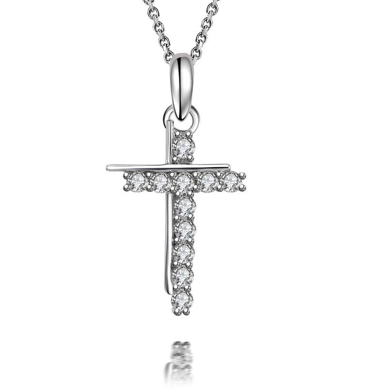 Cross White Diamond Pendant Necklace