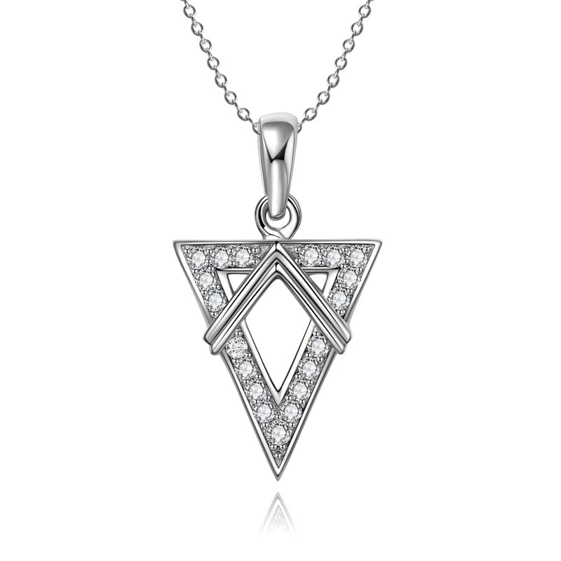 Triangle Created White Diamond Pendant Necklace