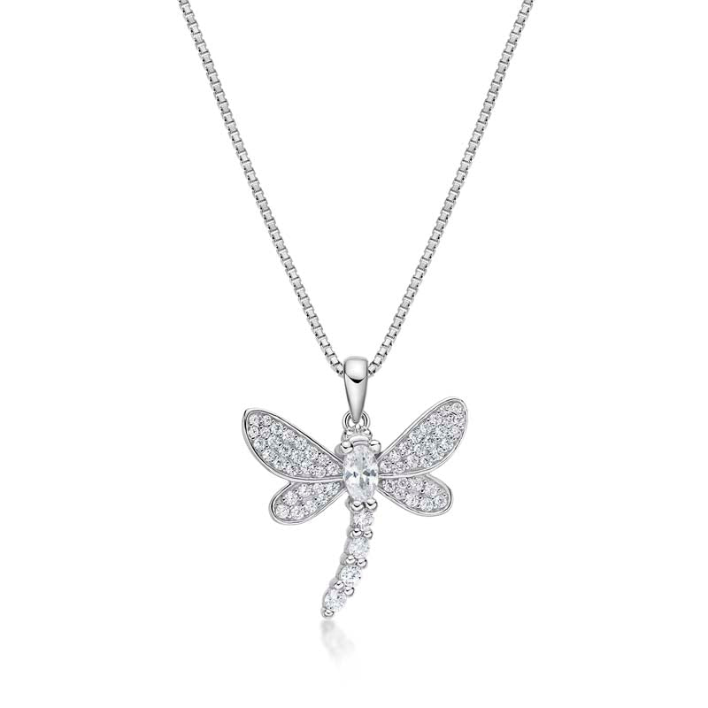 Dragonfly Created White Diamon Pendant Necklace