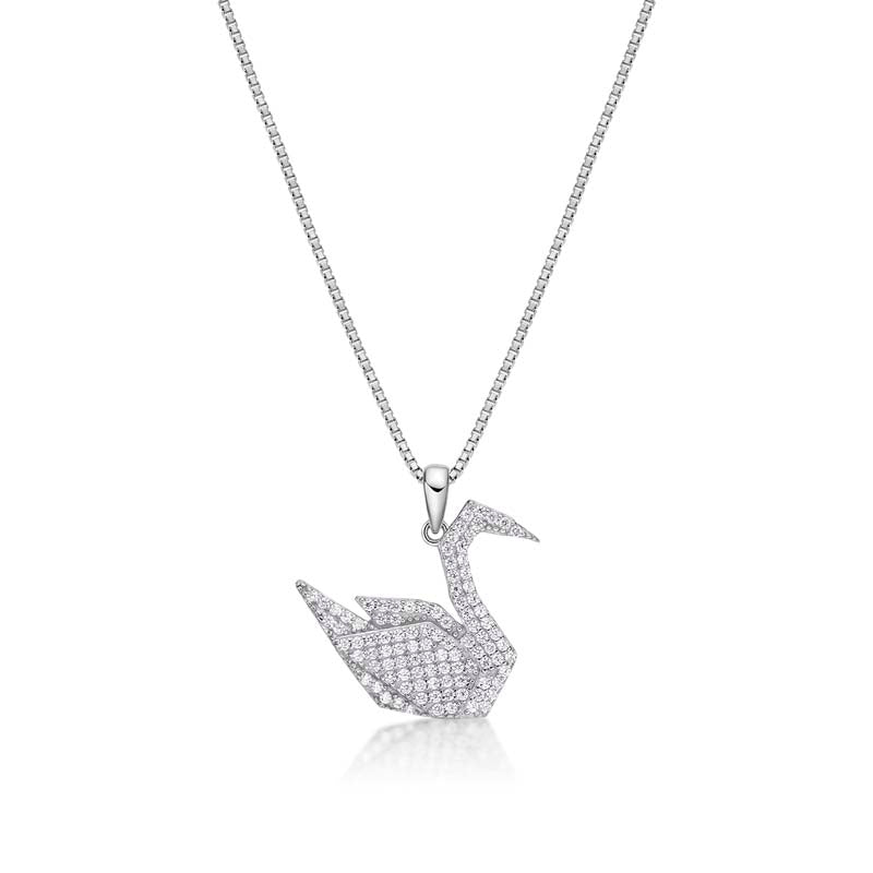Little Swan Created White Diamond Pendant Necklace