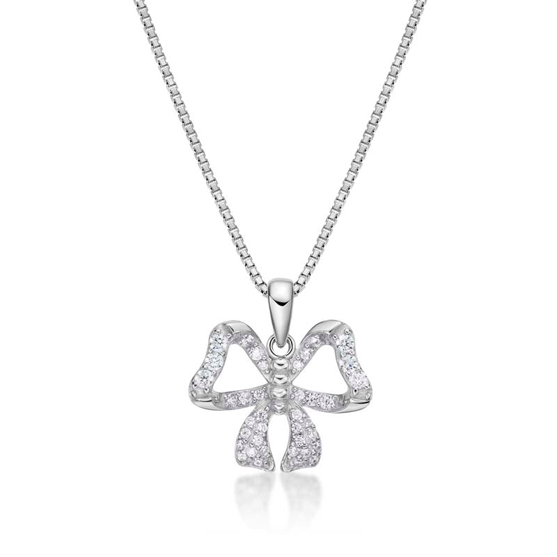 Heart Bow Created White Diamon Pendant Necklace