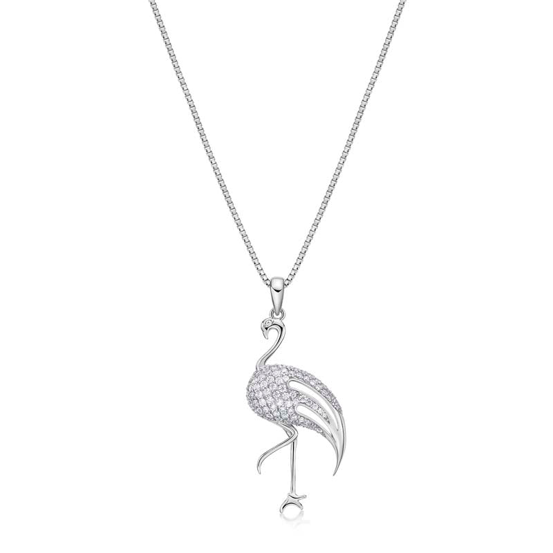 Flamingo Created White Diamond Pendant Necklace