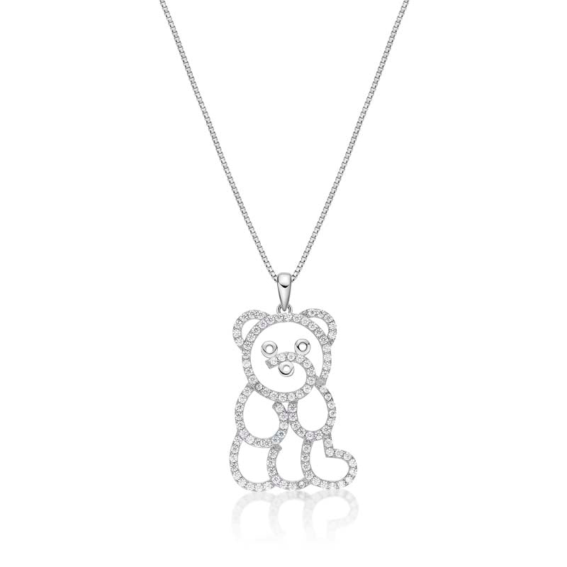 Little Bear Created White Diamon Pendant Necklace