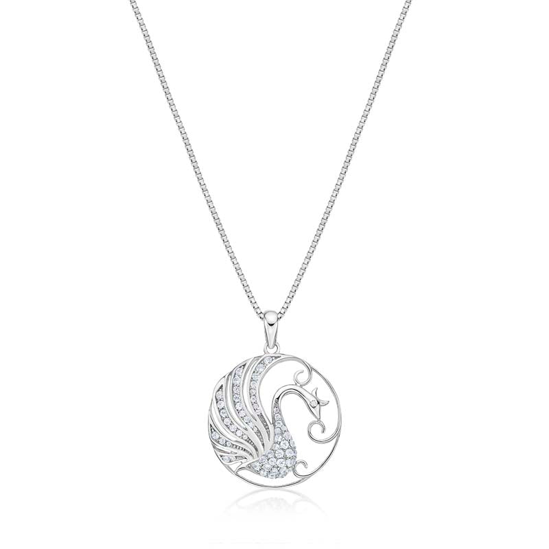Phoenix Created White Diamond Pendant Necklace