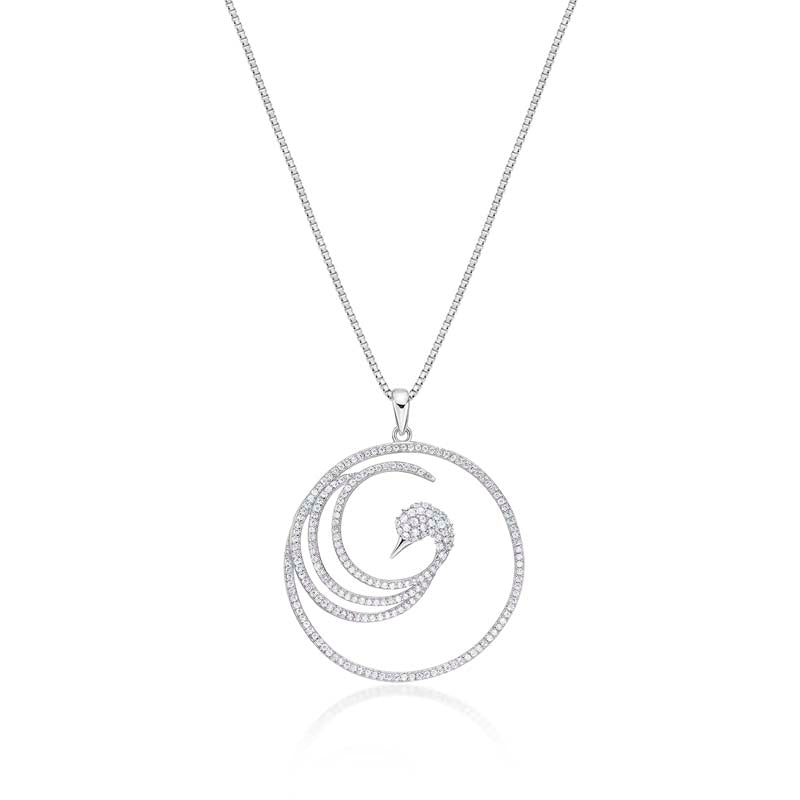 Bird Shape Created White Diamond Pendant Necklace