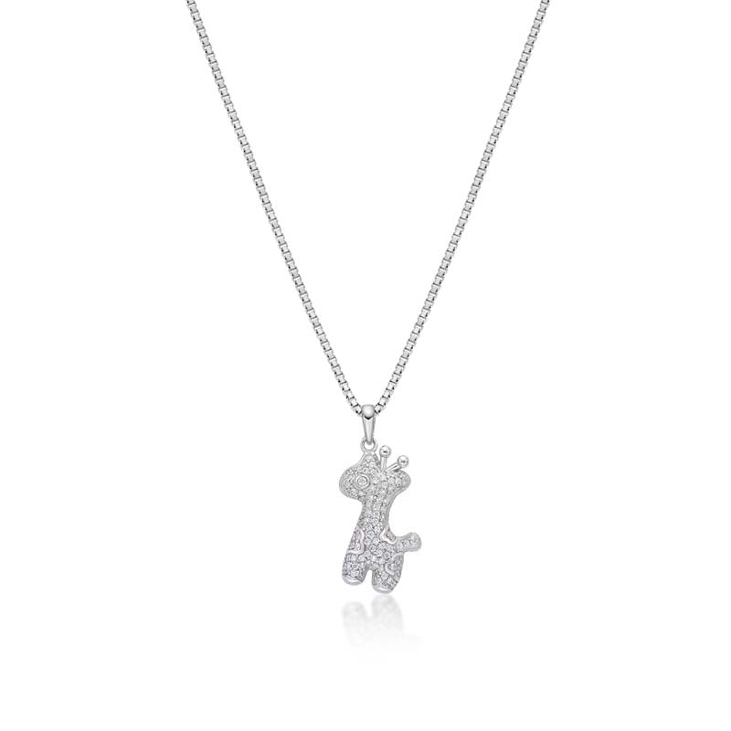 Pony Created White Diamond Pendant Necklace