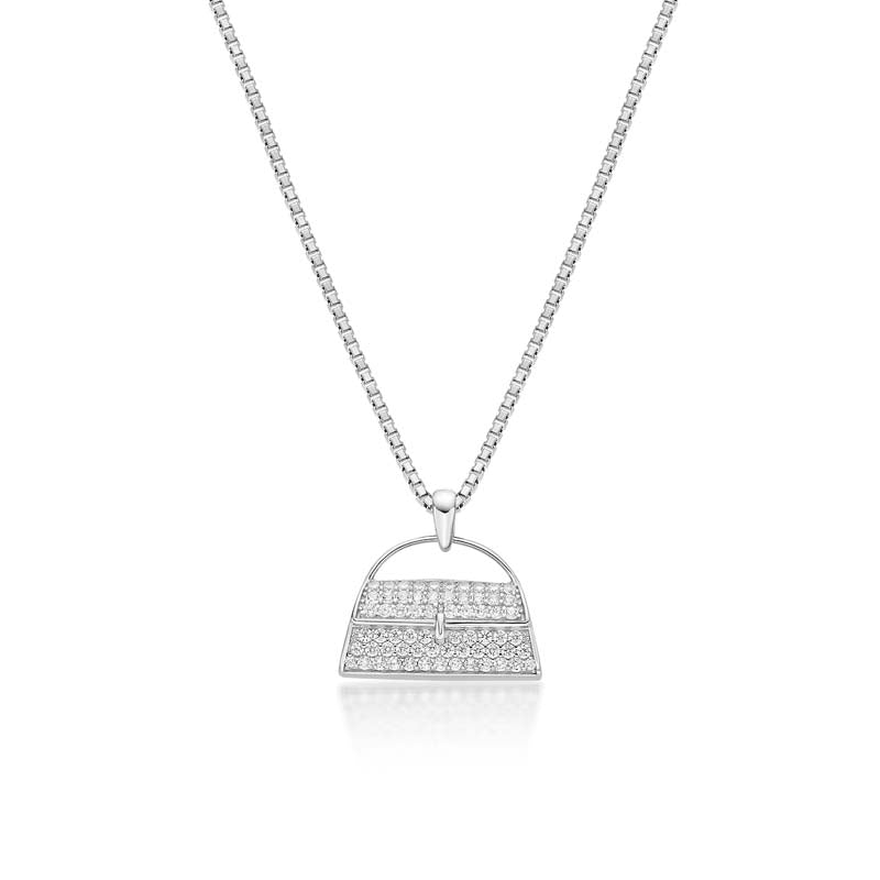 Fashion Bag Created White Diamond Pendant Necklace