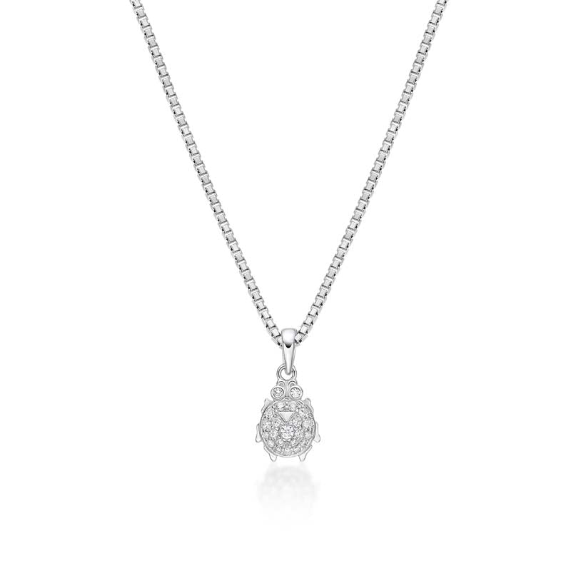 Ladybug Created White Diamond Pendant Necklace