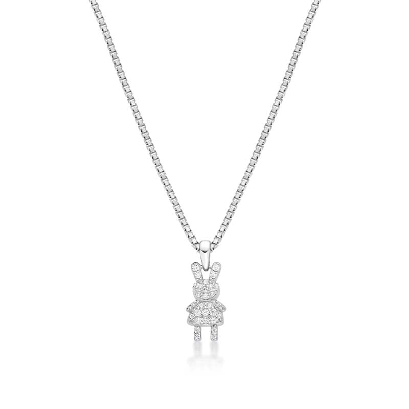 Cartoon Bunny Created White Diamond Pendant Necklace