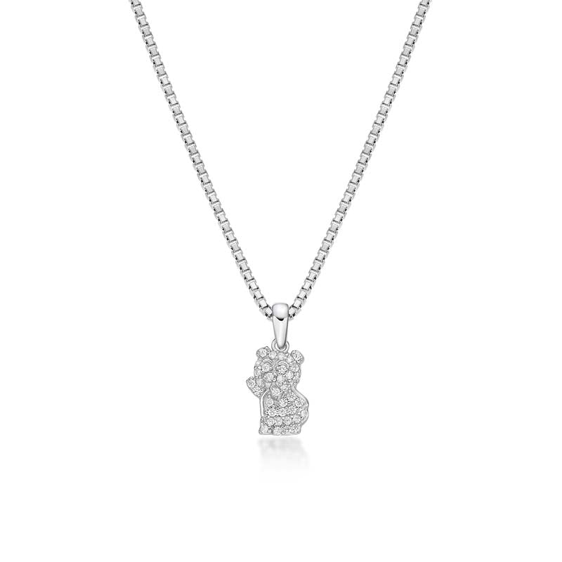 Bear Created White Diamond Pendant Necklace