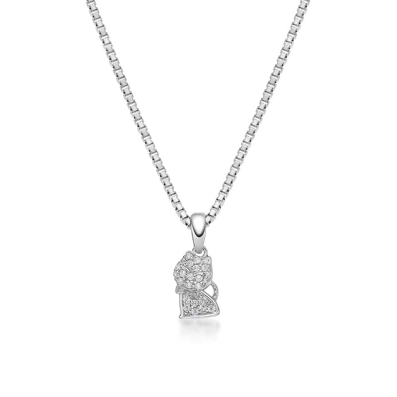 Cat Created White Diamond Pendant Necklace