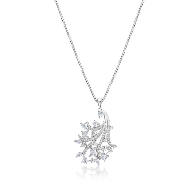 Mixed Cutting Created White Diamond Pendant Necklace