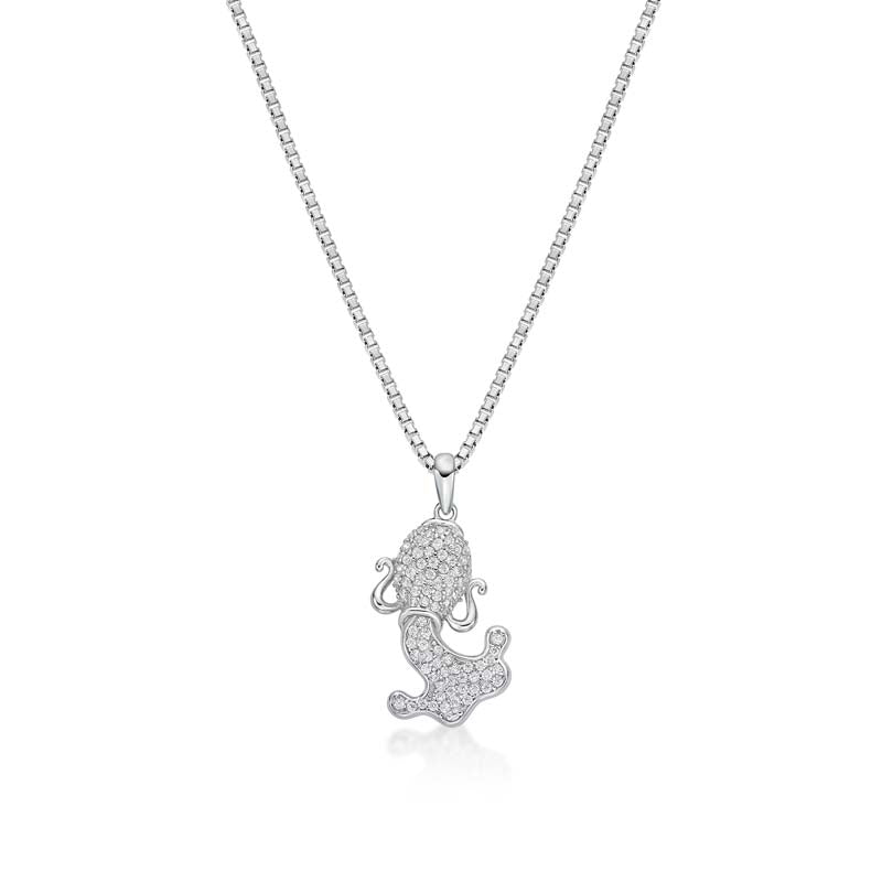 Fish Created White Diamond Pendant Necklace