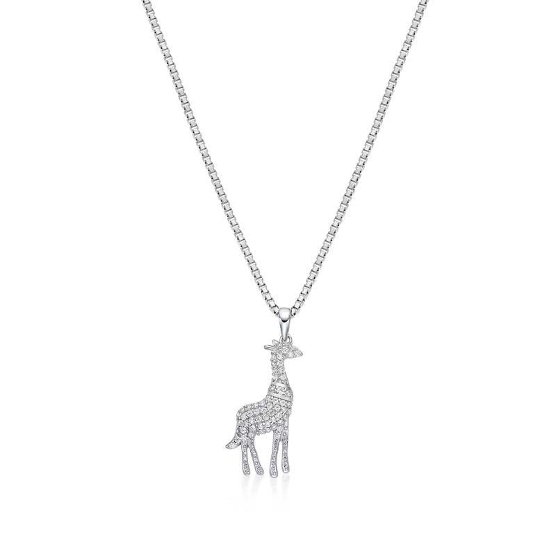 Giraffe Created White Diamond Pendant Necklace