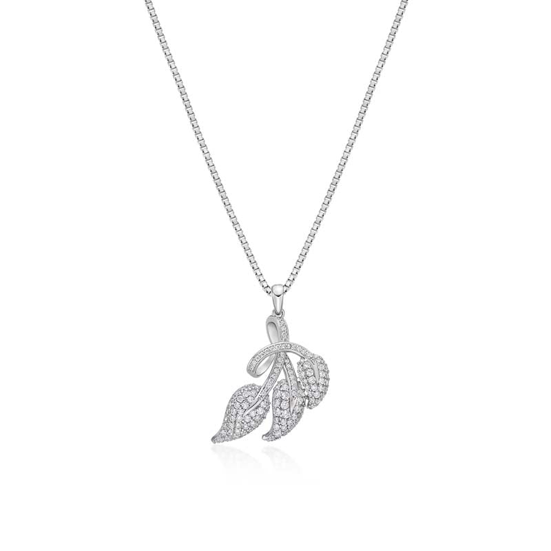 Leaves Created White Diamond Pendant Necklace