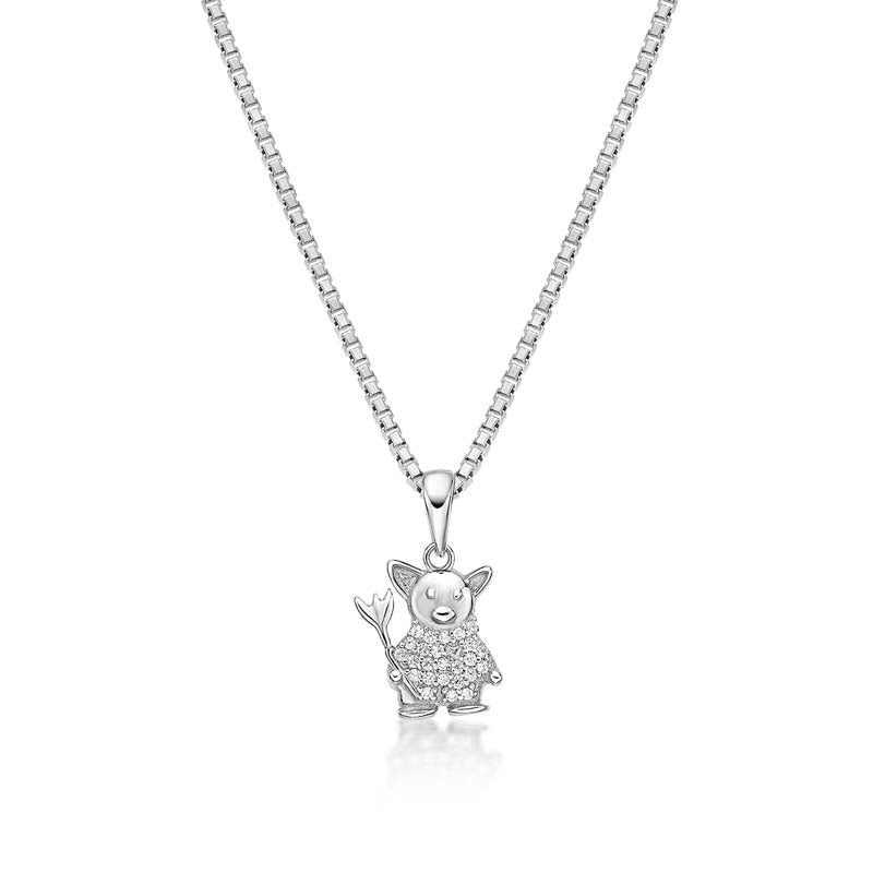 Animal Pig Created White Diamond Pendant Necklace