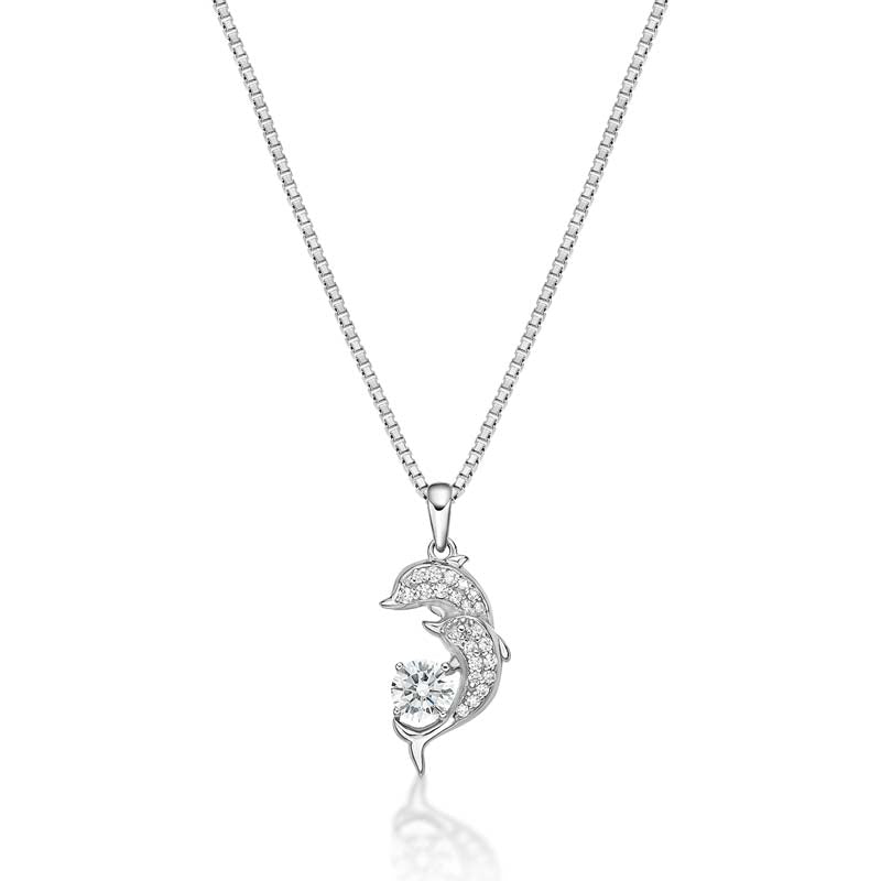 Dolphin Created White Diamond Pendant Necklace