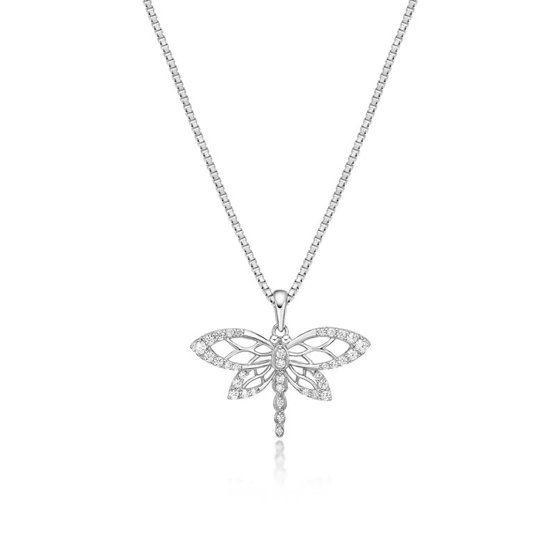 Dragonfly Created White Diamond Pendant Necklace