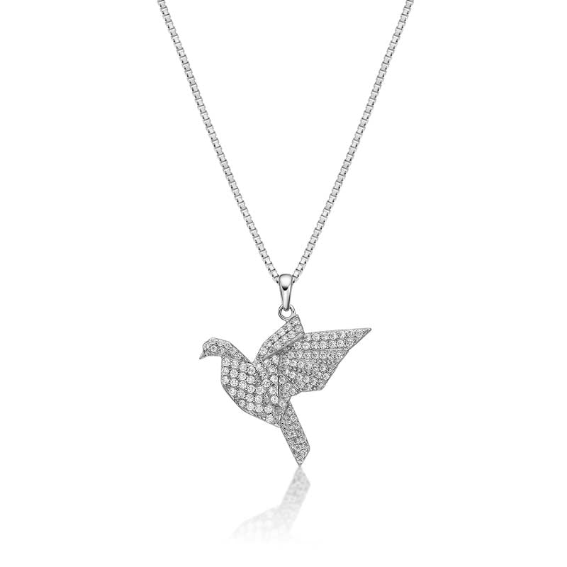 Bird Created White Diamond Pendant Necklace