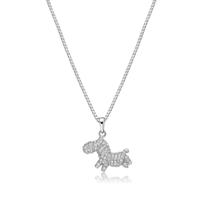 Horse Created White Diamond Pendant Necklace