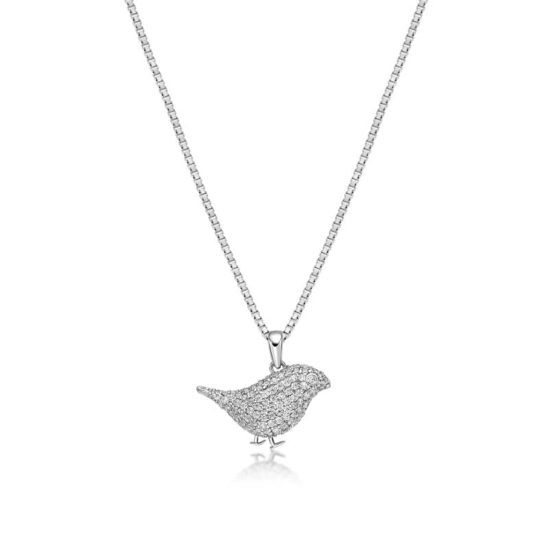 Little Bird Created White Diamond Pendant Necklace