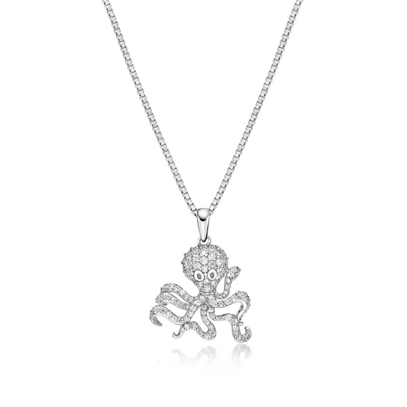 Octopus Created White Diamond Pendant Necklace