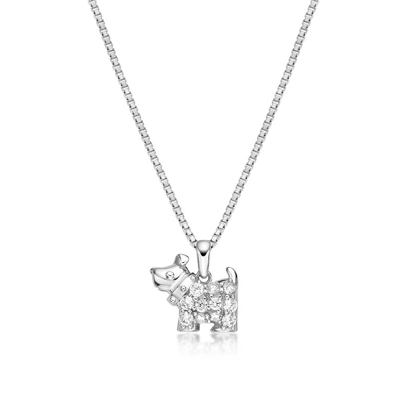 Puppy  Created White Diamond Pendant Necklace