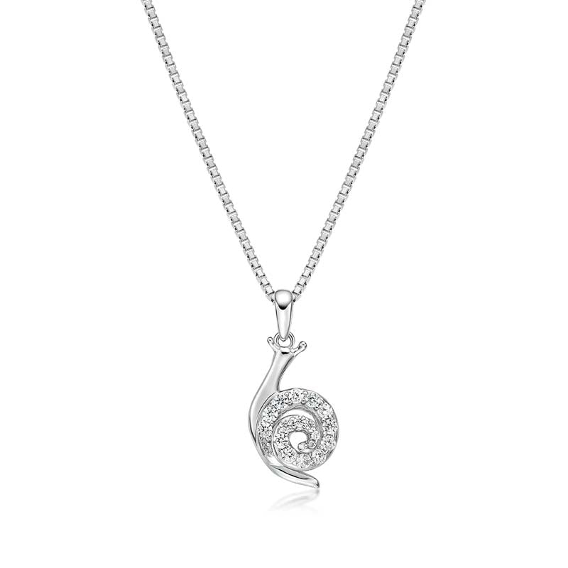 Snails Created White Diamond Pendant Necklace