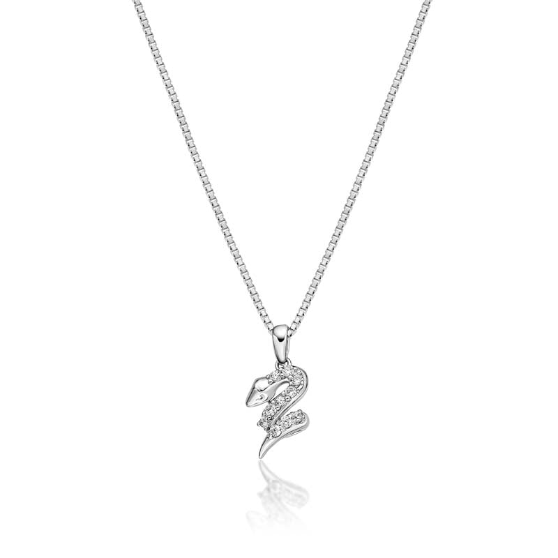 Snake Created White Diamond Pendant Necklace