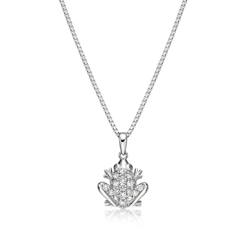 Frog Created White Diamond Pendant Necklace