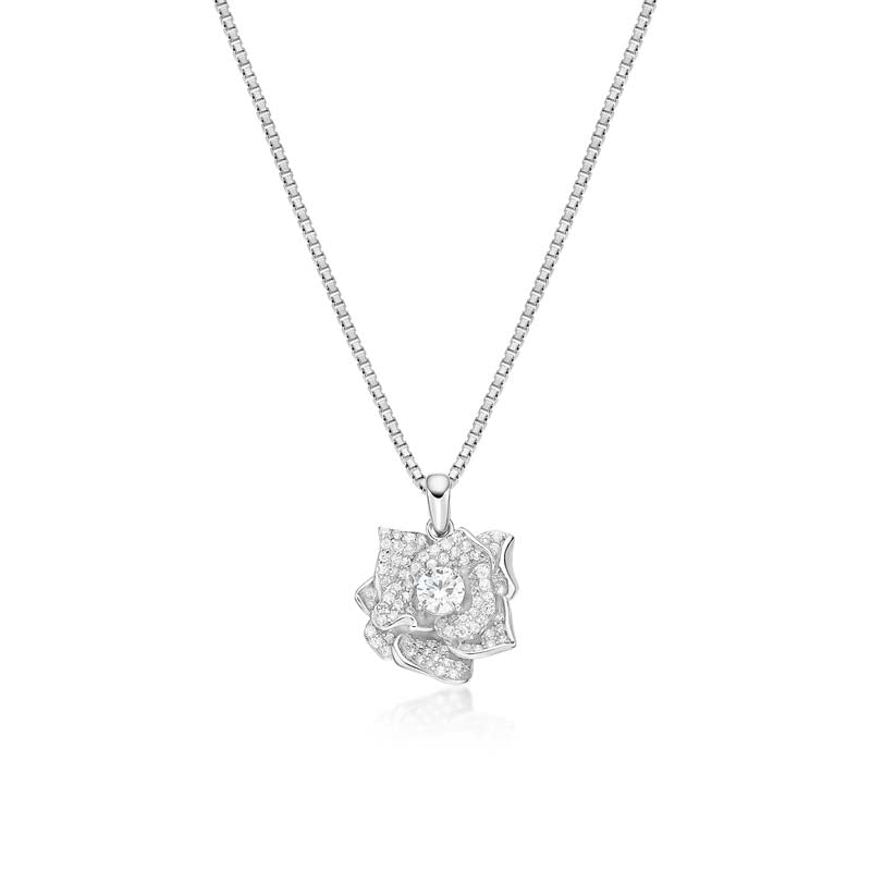 Rose Created White Diamond Necklace Best Gifts for her