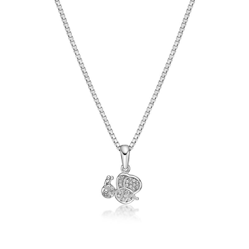 Bee Created White Diamond Pendant Necklace