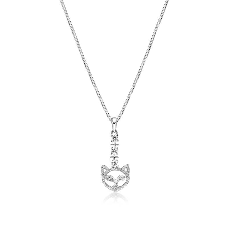 Fox Created White Diamond Pendant Necklace