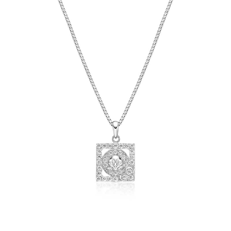 Princess Cut Created White Diamond Pendant Necklace