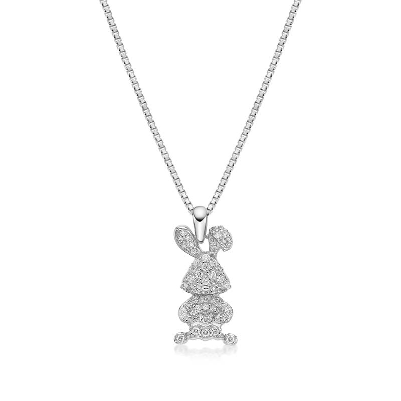 Rabbit Created White Diamond Pendant Necklace
