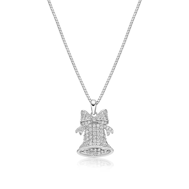 Bow and Bell Created White Diamond Pendant Necklace