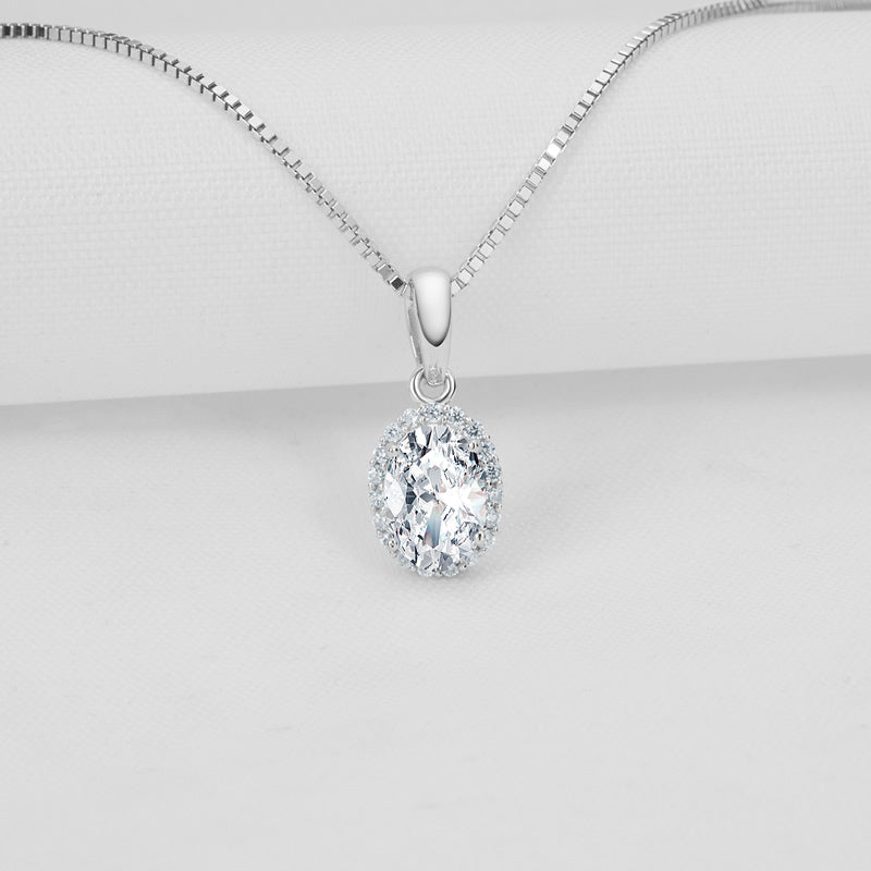 Halo Oval Created Diamond Sterling Silver Pendant Necklace