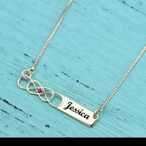 925 Sterling Silver Custom Name Bar Necklace with Birthstone Birthday Gift for Women