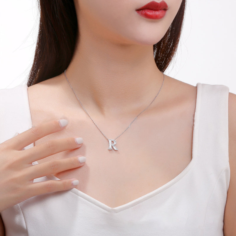 Letter R Created White Diamond Pendant Necklace