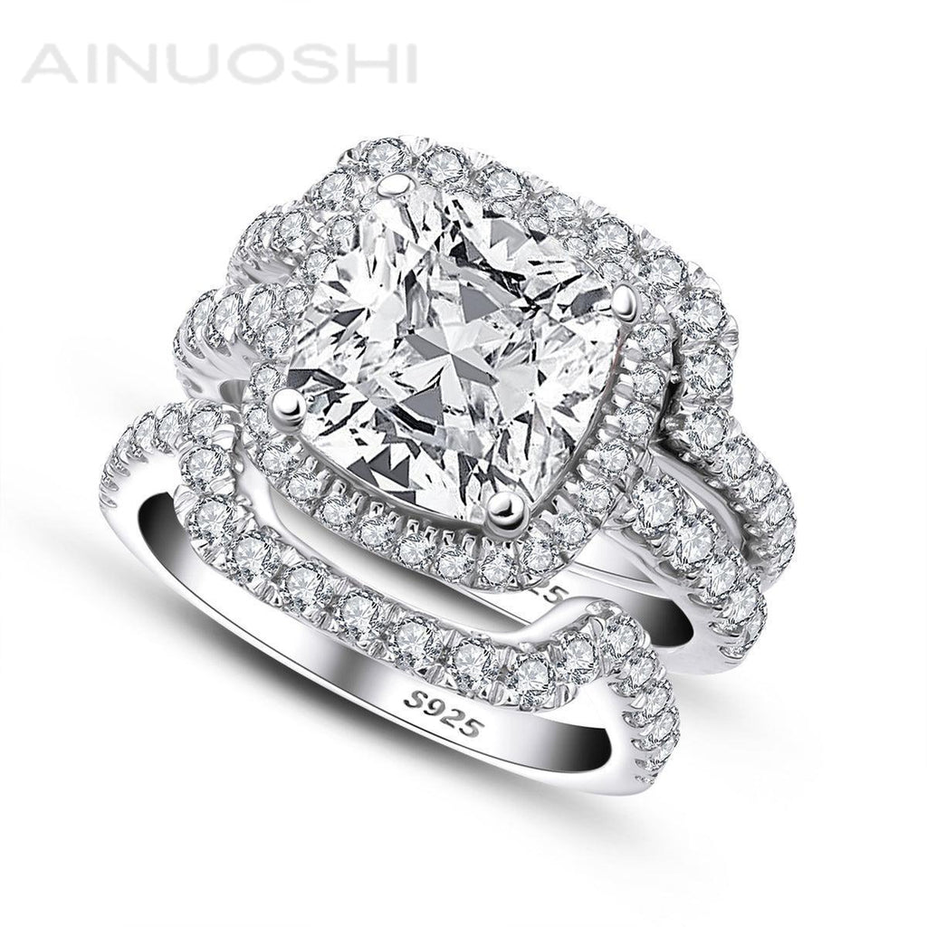 Classic Cushion Created White Diamond 3PC Rings