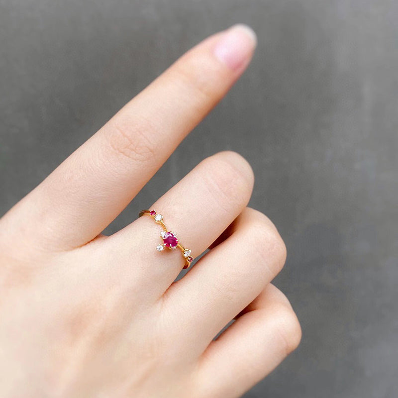 18K Gold Heart Shaped 0.25ct Natural Ruby Vintage Gemstone Ring