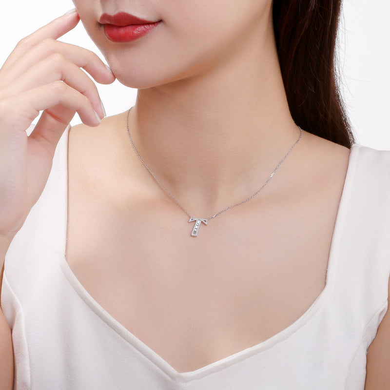 Letter T Created White Diamond Pendant Necklace