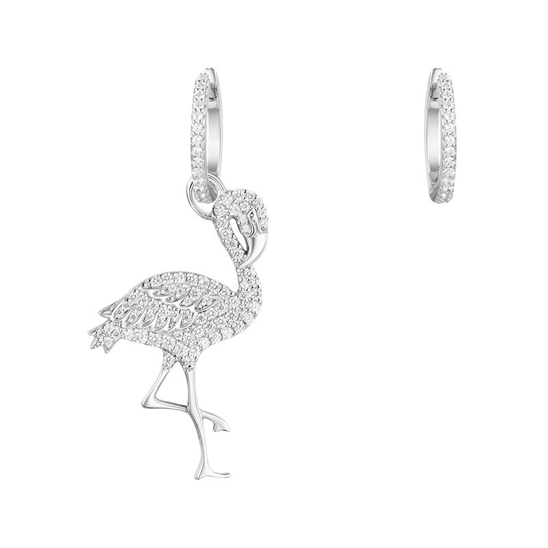 Flamingo Design Sterling Silver Created Diamond Pendant Earrings