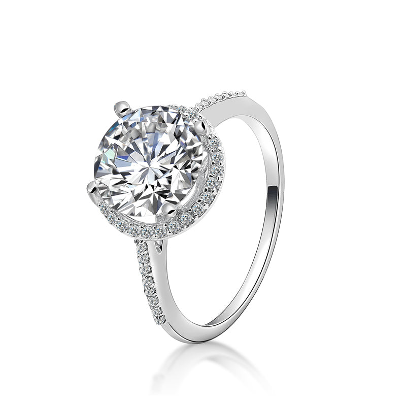 2.65 CT Halo Round Cut Created Diamond Ring