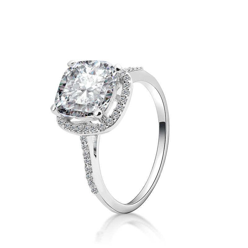 Cushion Cut Created Diamond Halo Ring